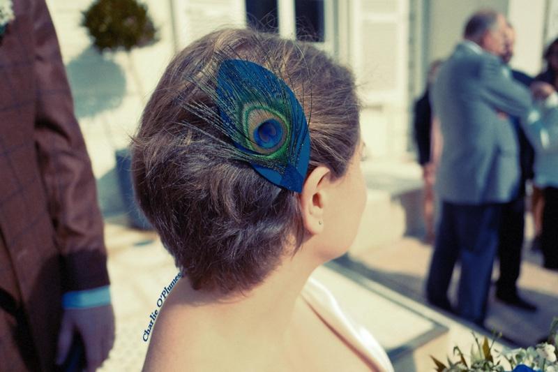 mariage bijou unique commande plume paon cuir bleu unique