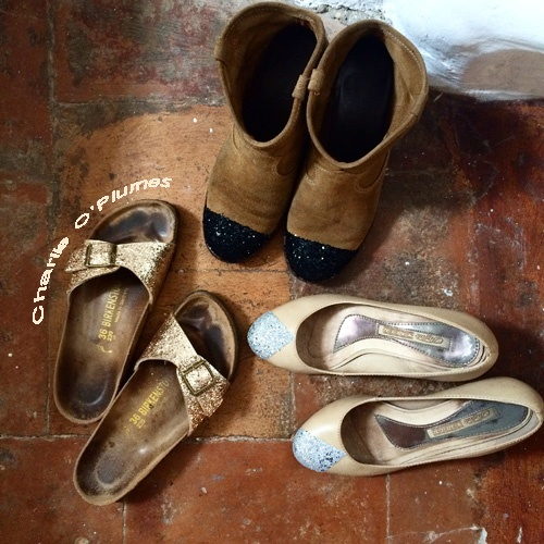 Tadaaaa ! Ma petite famille de chaussures à paillettes DIY !