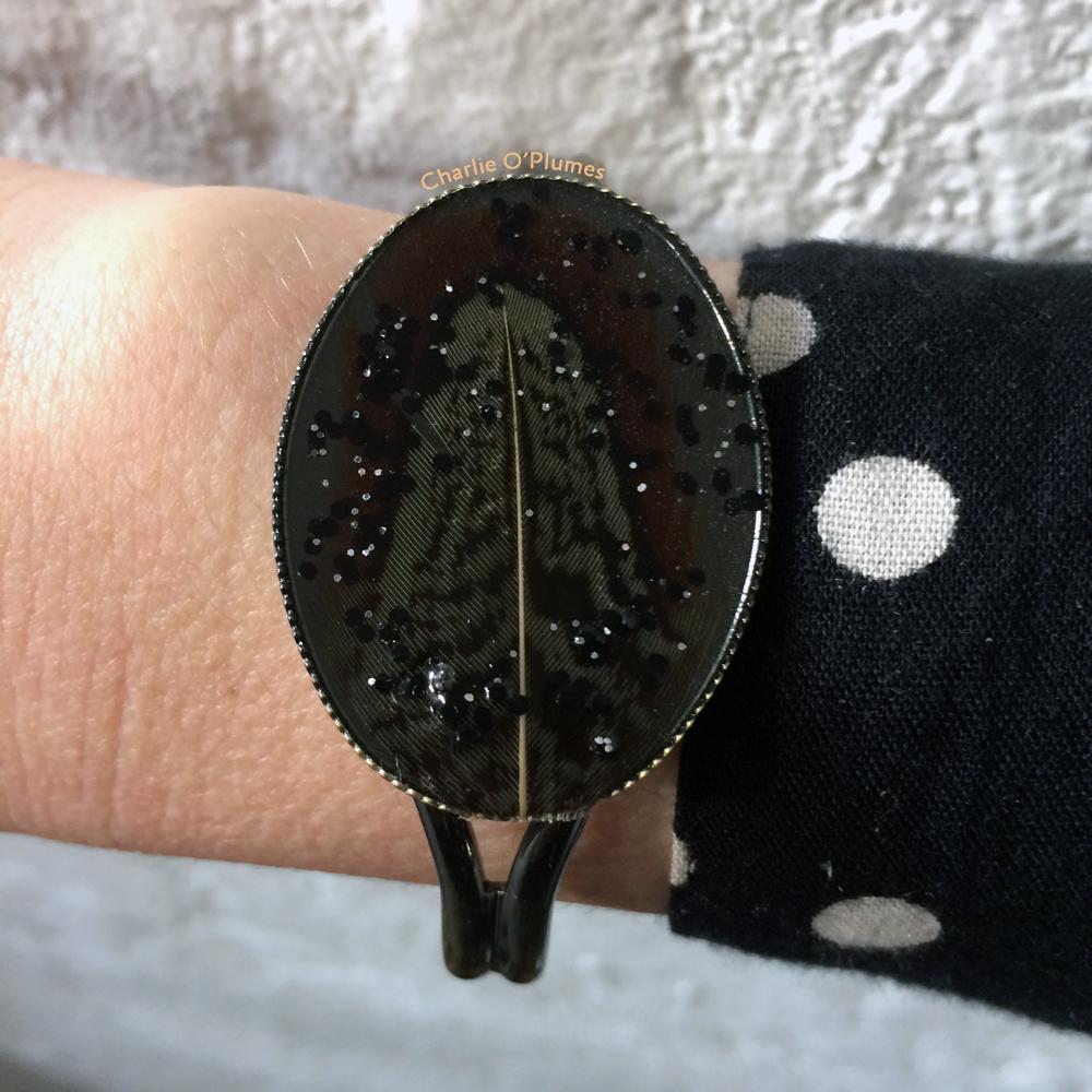 bracelet oplumes plume paillettes ovale rétro