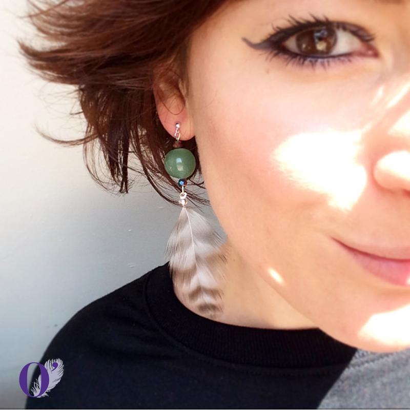 boucles d'oreilles oplumes jade rayures
