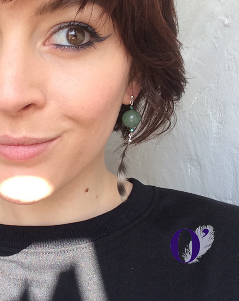 boucles d'oreilles oplumes rayures jade