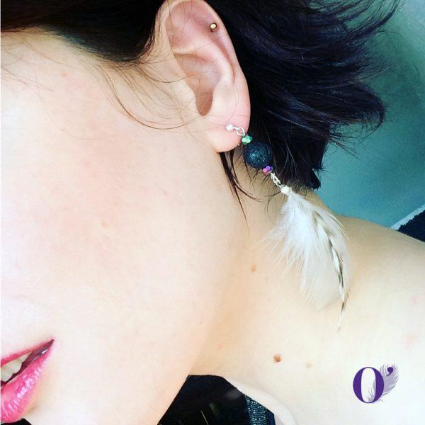 boucles d'oreilles pierre de lave plumes oplumes coq