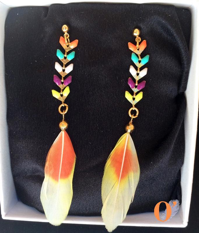 boucles d'oreilles multicolores corail inséparables plumes